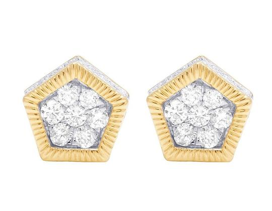Jewelry Unlimited 10K Yellow Gold Diamond 3D Pentagon Cluster Stud Earring 0.85 Ct 10MM Image 5