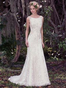 Maggie Sottero Champagne/ Pewter Accent Beaded Lace Applique Aspen Vintage Wedding Dress Size 6 (S)