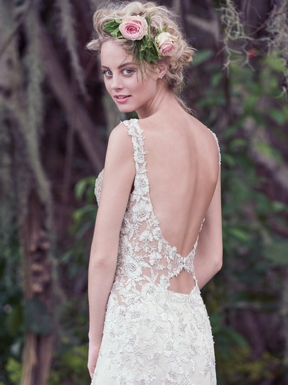 Maggie Sottero Champagne/ Pewter Accent Beaded Lace Applique Aspen Vintage Wedding Dress Size 6 (S) Image 1