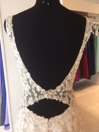 Maggie Sottero Champagne/ Pewter Accent Beaded Lace Applique Aspen Vintage Wedding Dress Size 6 (S) Image 4