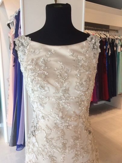 Maggie Sottero Champagne/ Pewter Accent Beaded Lace Applique Aspen Vintage Wedding Dress Size 6 (S) Image 5