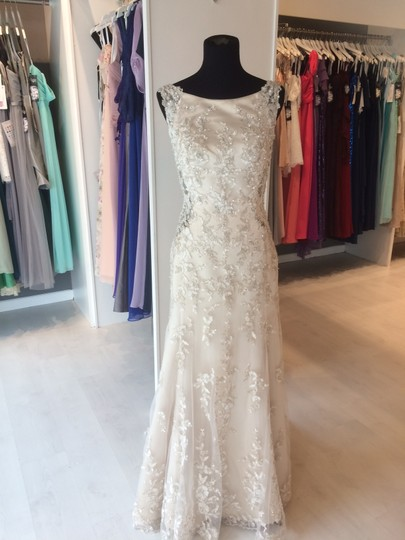 Maggie Sottero Champagne/ Pewter Accent Beaded Lace Applique Aspen Vintage Wedding Dress Size 6 (S) Image 6