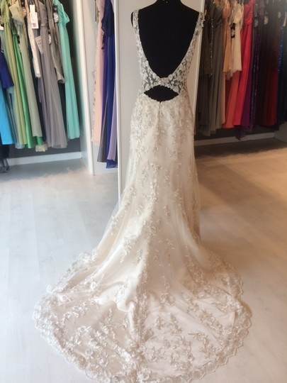 Maggie Sottero Champagne/ Pewter Accent Beaded Lace Applique Aspen Vintage Wedding Dress Size 6 (S) Image 7