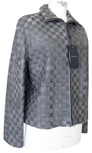 Giorgio Armani Leather Woven Leather Leather/Suede gray Jacket