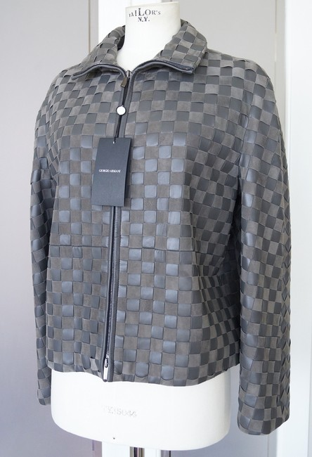 Giorgio Armani Leather Woven Leather Leather/Suede gray Jacket Image 1