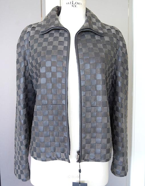 Giorgio Armani Leather Woven Leather Leather/Suede gray Jacket Image 2