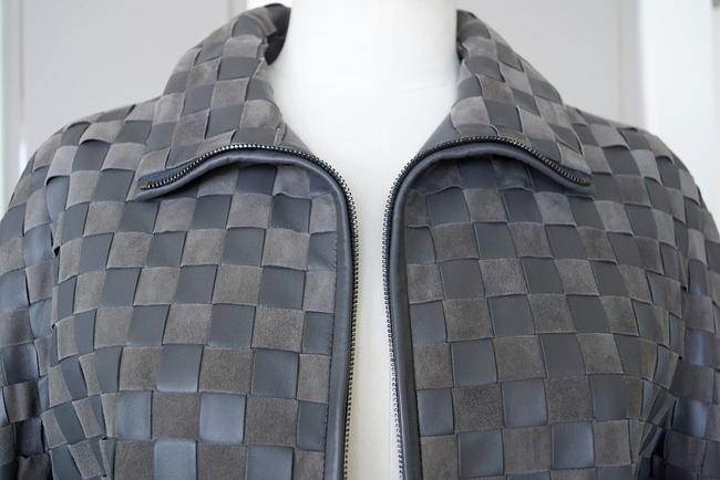 Giorgio Armani Leather Woven Leather Leather/Suede gray Jacket Image 3