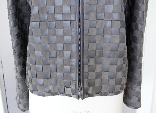 Giorgio Armani Leather Woven Leather Leather/Suede gray Jacket Image 4