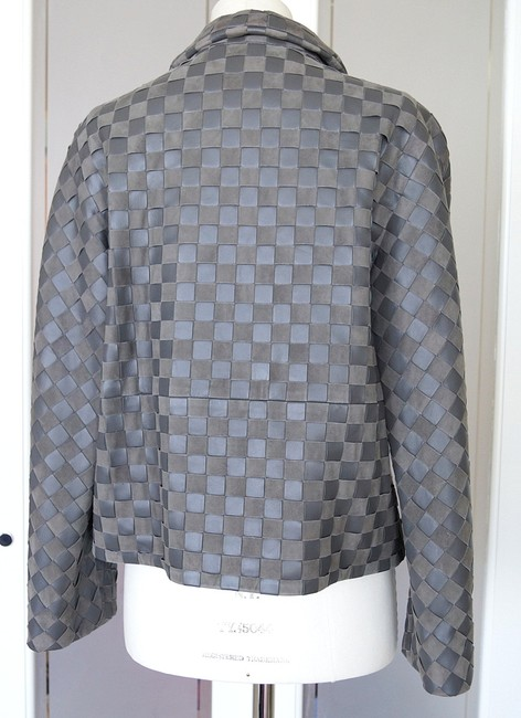 Giorgio Armani Leather Woven Leather Leather/Suede gray Jacket Image 6