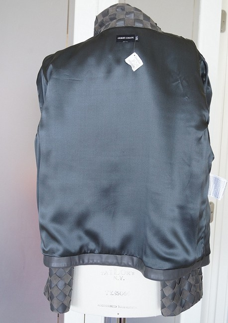 Giorgio Armani Leather Woven Leather Leather/Suede gray Jacket Image 7
