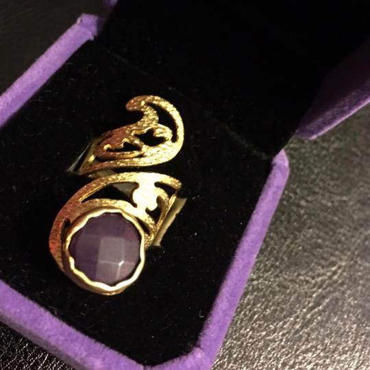 Queen Esther Etc Women's Pinky Ring With Purple Jade Stone Image 1