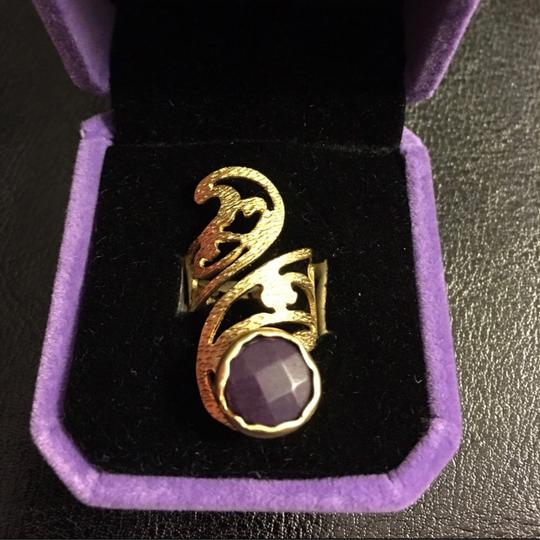 Queen Esther Etc Women's Pinky Ring With Purple Jade Stone Image 3