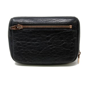 Alexander Wang Signature Black Fumo Continental Zipped Pebble Leather Mini Wallet