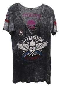 Affliction Lace-up Distressed T Shirt Gray, White, Pink, Red, Blue