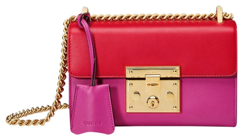 ae2c974b385b Gucci Padlock Signature Red/Pink Leather Shoulder Bag - Tradesy