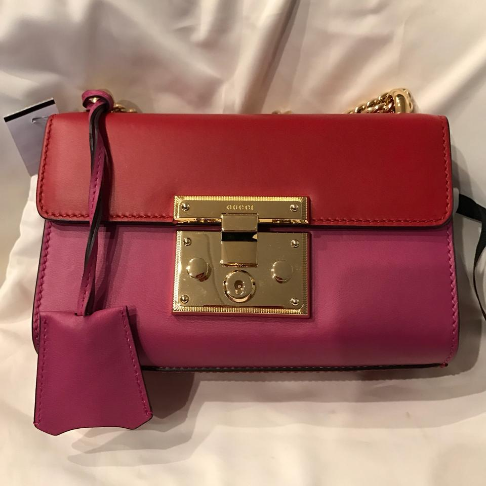 1731a23a694d8 Gucci Padlock Signature Red Pink Leather Shoulder Bag - Tradesy