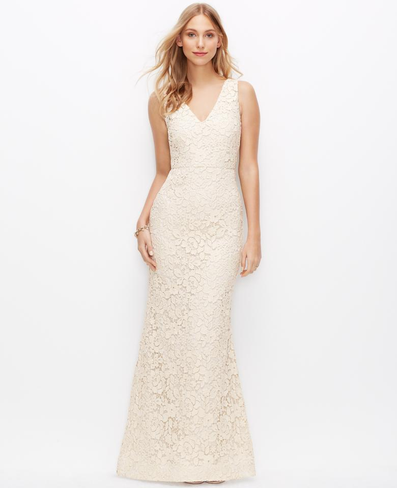 Ann taylor petite lace v neck wedding dress style 344701 for Petite lace wedding dresses
