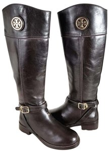 Tory Burch Equestrian-inspired Finished Leather Side Zip Closure Imported Dark Brown Boots