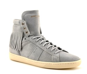 Saint Laurent High Top Sneakers Suede Grey Athletic