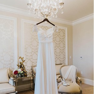 c338e8a26304 Reem Acra White Silk Charmeuse Twist Front Gown with Jeweled Sleeves  Feminine Wedding Dress Size Petite