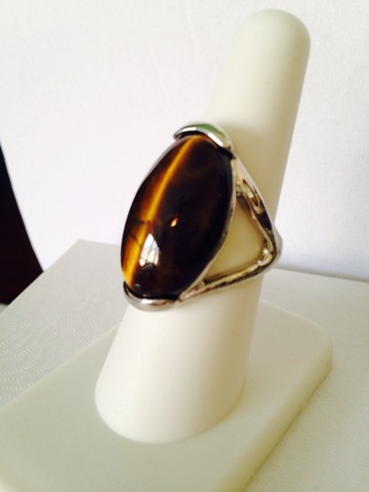 Other NWOT Large Tigers Eye Cabochon In Silver-Tone Ring, Size 8