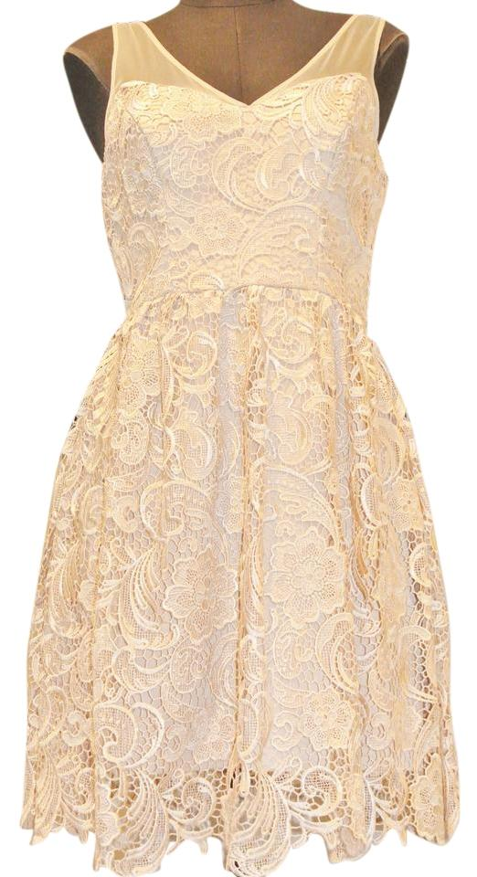7b49b1e9323 Adrianna Papell Beige Lace Short Cocktail Dress Size 6 (S) - Tradesy
