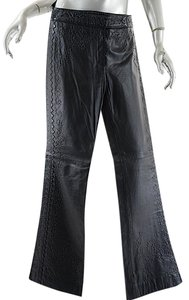 Philosophy di Alberta Ferretti Leather Embroidered Boot Cut Pants Black
