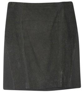 Elie Tahari Stretch Suede Leather Panel Pencil Skirt BLACK