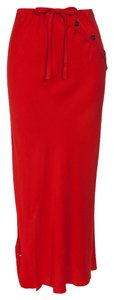 Ann Demeulemeester Asymetrical Origami Maxi Skirt Red