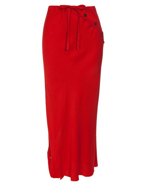 Ann Demeulemeester Asymetrical Origami Draped Maxi Skirt Red