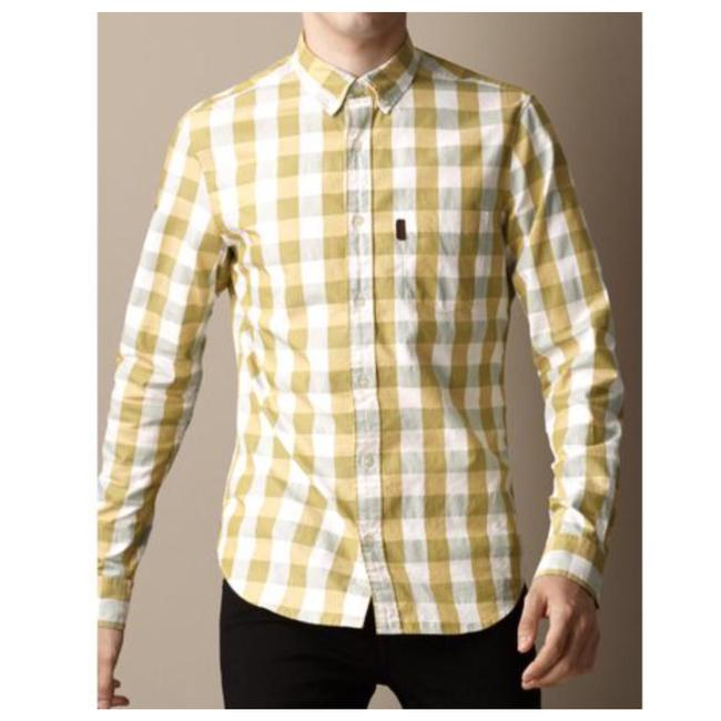Item - Yellow Brit Fred For Men Check Button-down Top Size 6 (S)