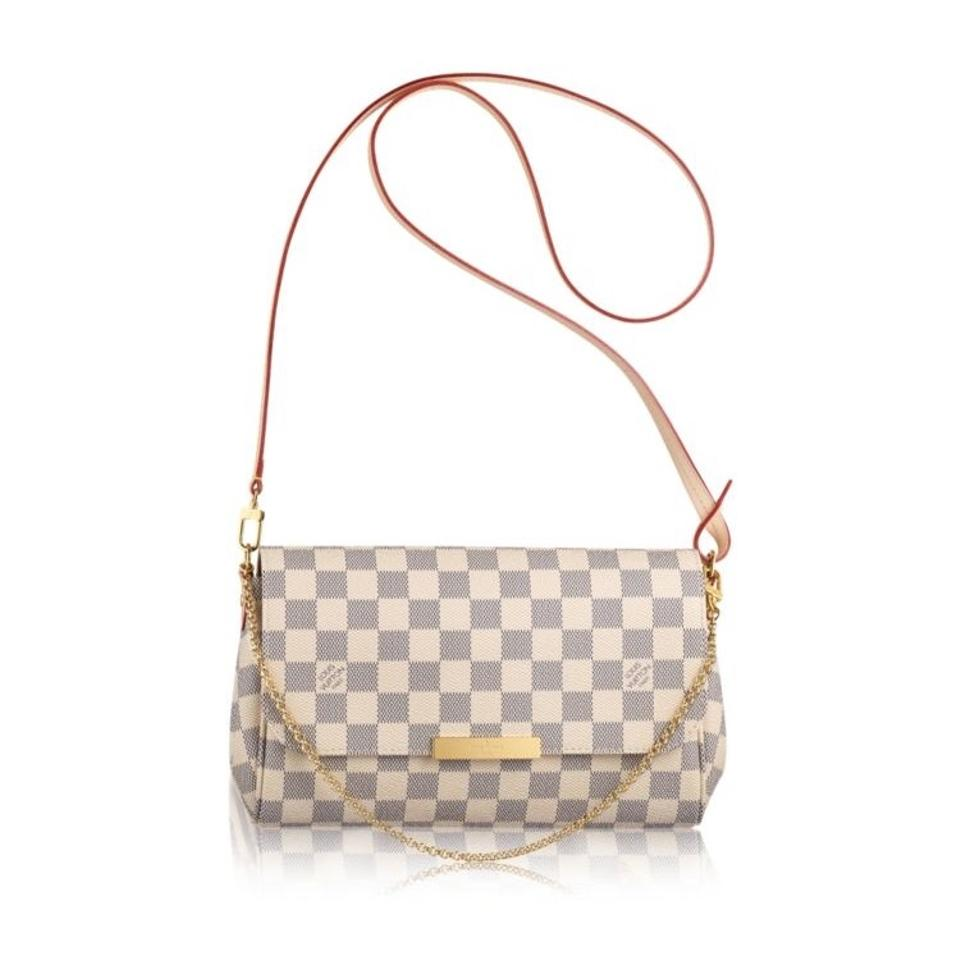 louis vuitton new 2017 cute favorite mm pochette damier azur gold chain medium white clutch. Black Bedroom Furniture Sets. Home Design Ideas
