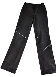 Versace Leather High Waisted Straight Pants Black