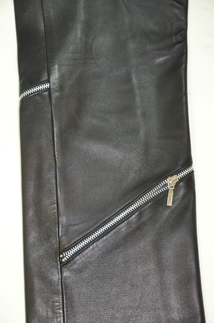 Versace Leather High Waisted Zipper Detail Straight Pants Black