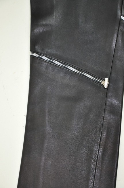 Versace Leather High Waisted Zipper Detail Straight Pants Black Image 2