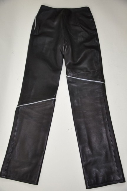 Versace Leather High Waisted Zipper Detail Straight Pants Black Image 4