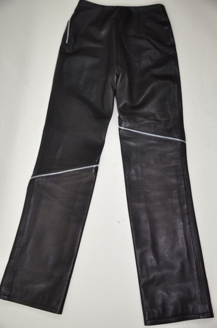 Versace Leather High Waisted Zipper Detail Straight Pants Black Image 5