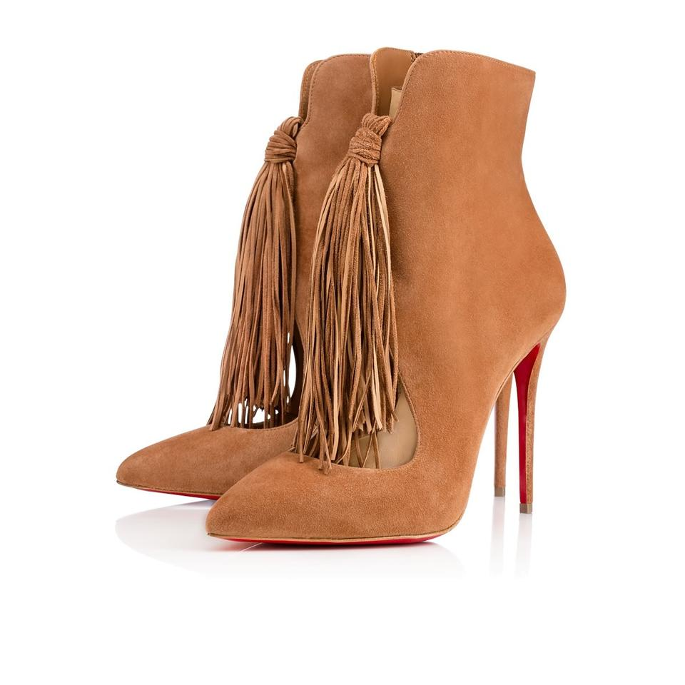 Christian Suede Louboutin Brown Ottocarl 100 Suede Christian Fringe Heel Boots/Booties 4b2a12