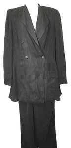 Giorgio Armani GIORGIO ARMANI MADE IN ITALY 2-PC. BLACK STRIPED PANT SUIT 46