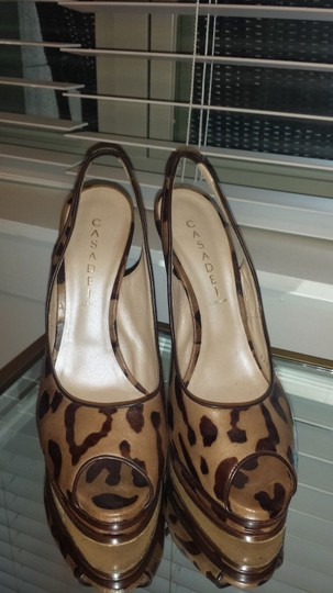 Casadei Peep Toe Slingback brown leopard Pumps