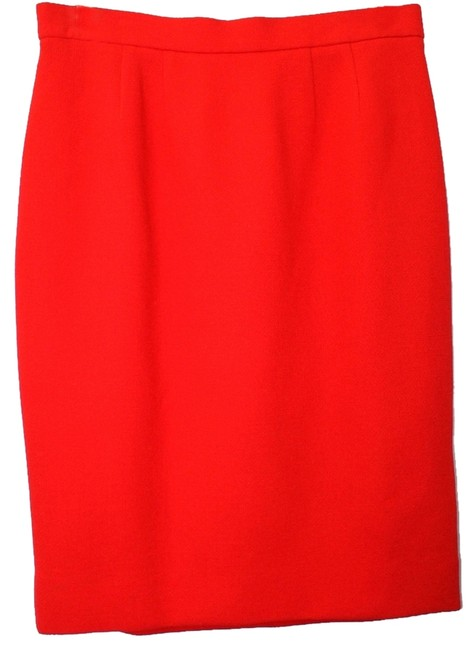 Givenchy Couture Made In France Wool Skirt RED