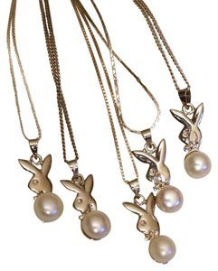 Other 925 Sterling Cultured Pearl Playboy Bunny Bridal Wedding Necklace NEW