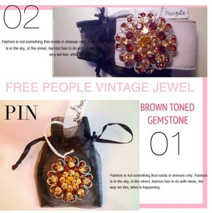 Free People New! Free People Brown Gemstone Floral Vintage Style Accessory Pin