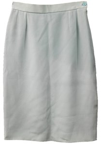 Saint Laurent Ysl Yves Silk Pencil Skirt MISTY GREEN