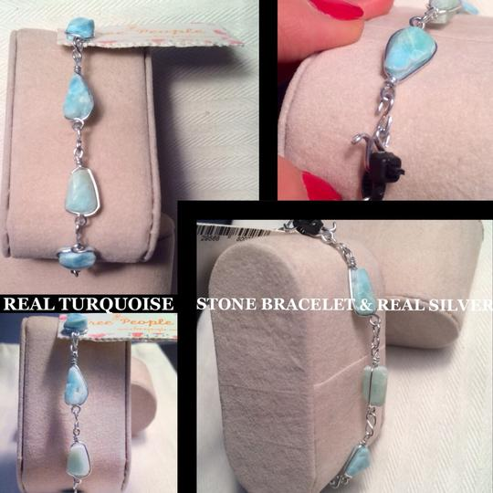 Free People New! Turquoise stone & Silver Skinny Bracelet, New!