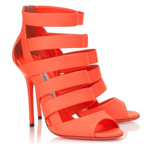 Jimmy Choo Neon Bright Strappy Party Neon Flame Sandals