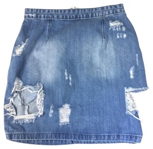 Missguided Denim Distressed Medium Washed Mini Skirt Blue