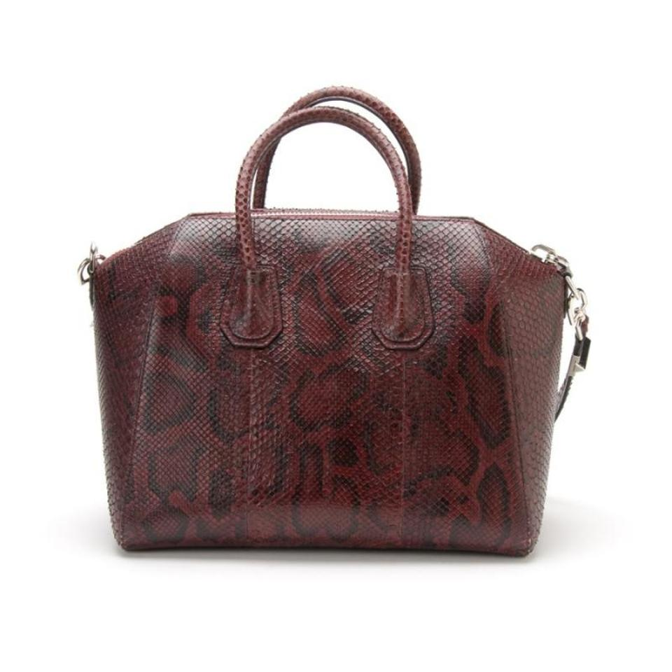 1b0c0ee0db12 Givenchy Medium Antigona Burgundy Python Skin Leather Shoulder Bag ...