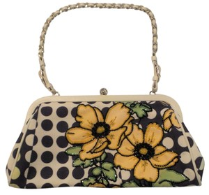 Isabella Fiore Beaded Small White, black, yellow, green Clutch