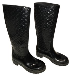 Louis Vuitton Monogram Rain Rubber Black Boots